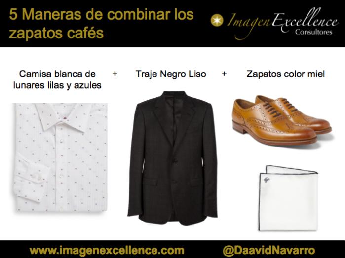 b93a520547 2) Camisa blanca de lunares pequeños + Traje negro liso + Zapatos miel.  5 maneras combinar zapatos cafe 02