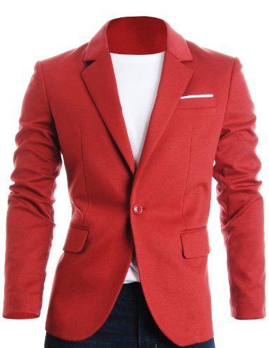 Blazer rojo con camiseta de algodón de cuello redondo