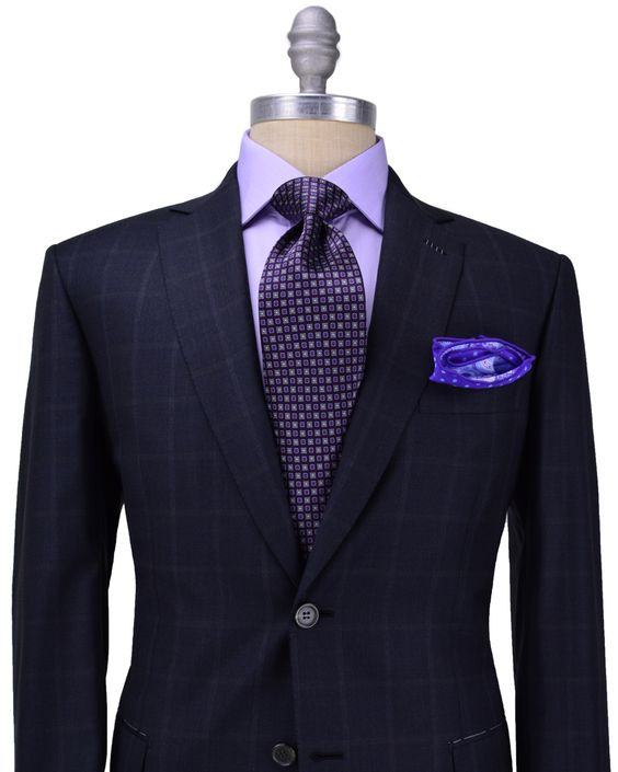 traje azul marino de cuadros