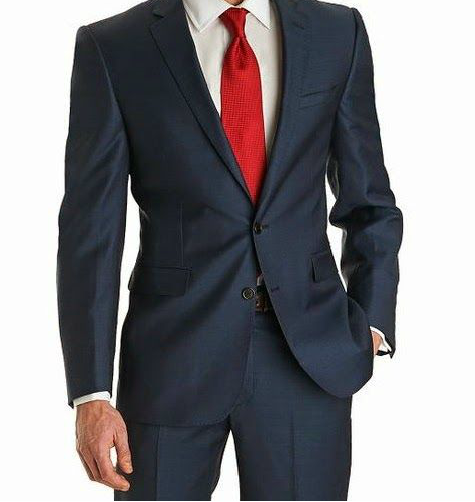 Traje Azul Marino corbata roja